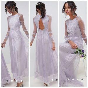 Long Sleeve Lilac Lace Dress